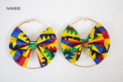 African fabric earrings bow tie handmade jewelry