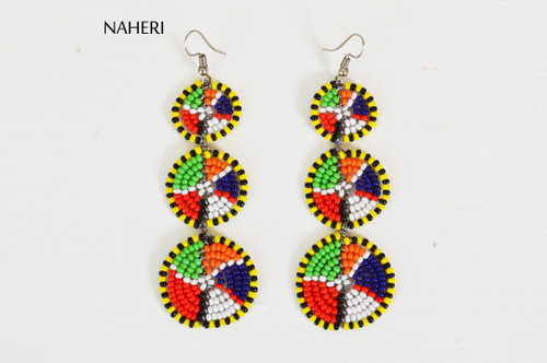 African beaded maasai 3in1 earrings trendy