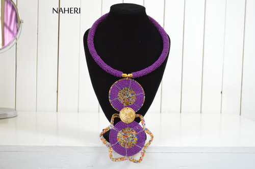 African beaded tribal pendant necklace purple jewelry naheri