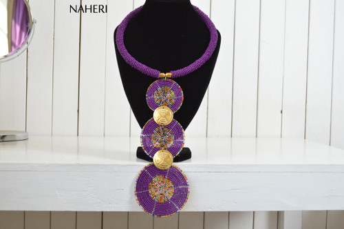 African purple tiered pendant necklace tribal