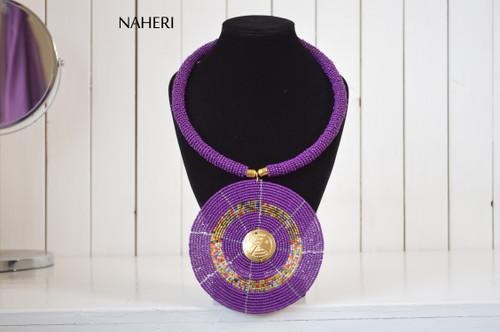 African beaded round purple pendant necklace naheri
