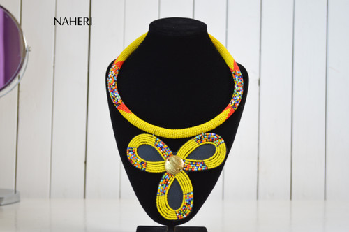 African beaded zulu yellow pendant necklace naheri jewelry