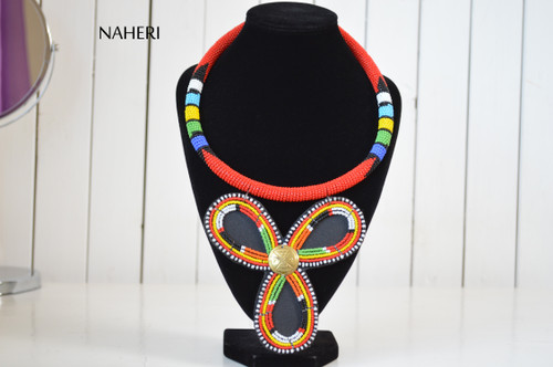 African beaded zulu pendant necklace naheri red jewelry