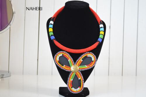 African beaded zulu pendant necklace naheri red jewelry
