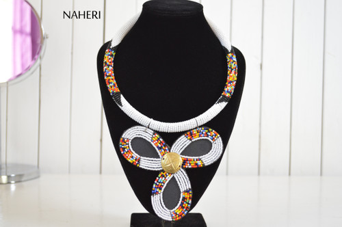 African beaded zulu pendant necklace naheri white jewelry