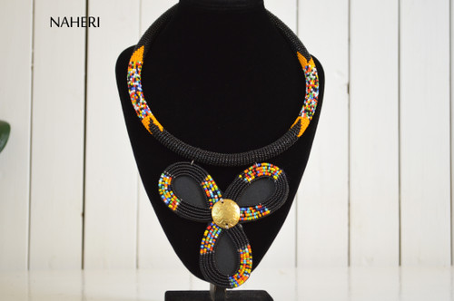 African beaded zulu pendant necklace naheri black jewelry