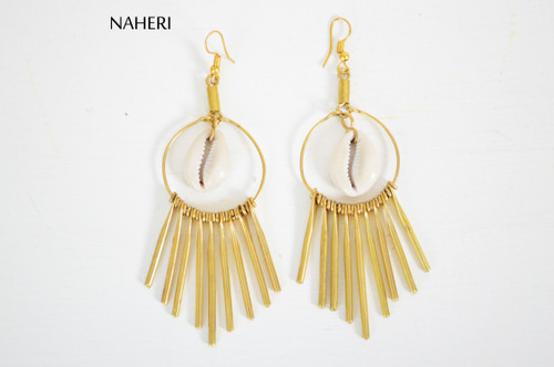African brass earrings cowrie shell tribal naheri jewelry