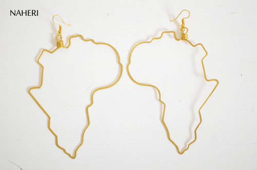 African map brass wire earrings handmade tribal jewelry