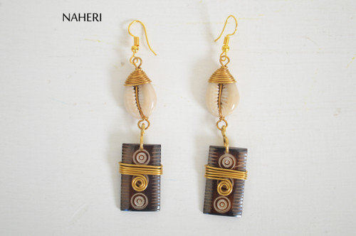 African inspired cowrie shell bone earrings naheri jewelry