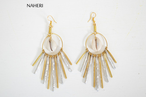 African inspired earrings cowrie shell metal tribal naheri jewelry