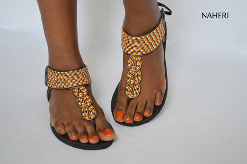 African beaded sandals handmade tribal sandals naheri  - TATU