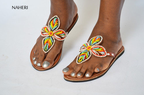 Beaded African handmade sandals for women naheri - NANE