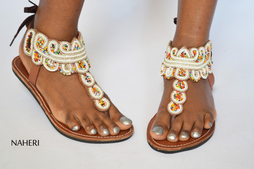 African handmade sandals beaded tribal - SITA