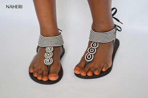 African beaded sandals handmade naheri - MAKINA