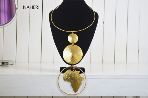 African map brass metal necklace handmade jewelry naheri