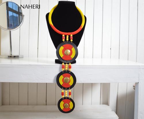 African beaded necklace long pendant handmade tribal jewelry naheri