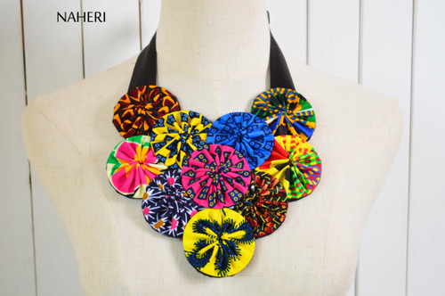 African print necklace with matching earrings tribal fabric jewelry naheri