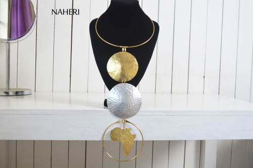 African map brass and aluminum necklace handmade jewelry
