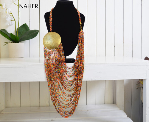 African inspired beaded loop necklace with brass disc naheri