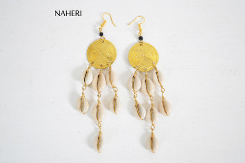 African cowrie shell chandelier earrings with brass tribal jewelry naheri