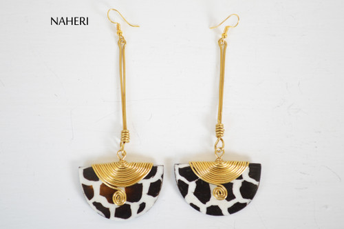 African inspired bone earrings giraffe skin painting naheri African jewelry