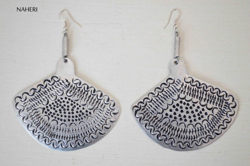 African inspired silver metal earrings engraved jewelry