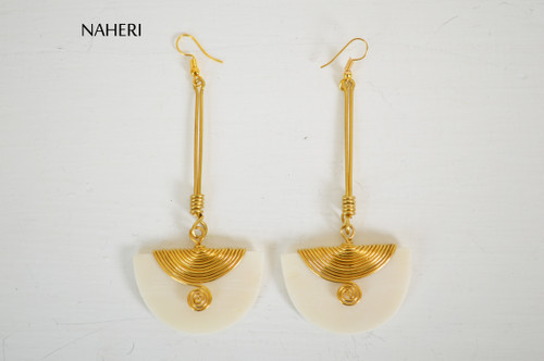 African inspired bone earrings white  jewelry naheri