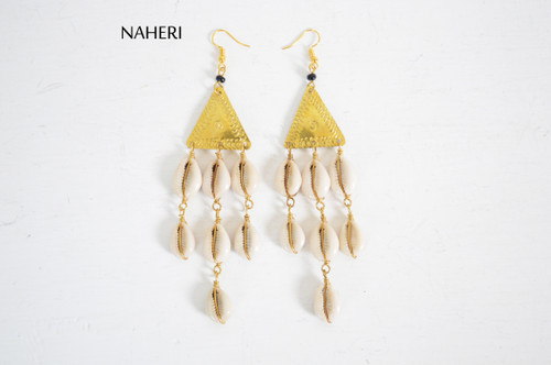 African cowrie shell chandelier earrings with triangle brass naheri
