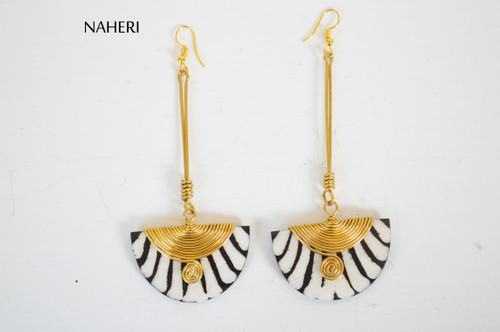 African inspired bone earrings zebra print jewelry naheri