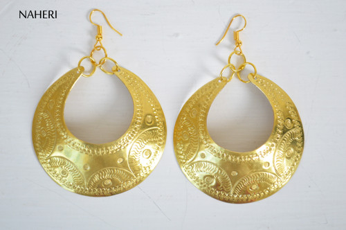 African brass hoop earrings boho jewelry naheri
