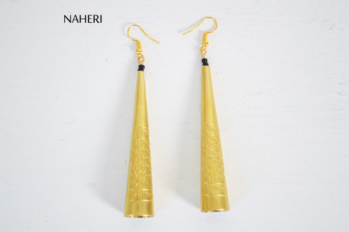 African brass bell shape earrings boho jewelry naheri