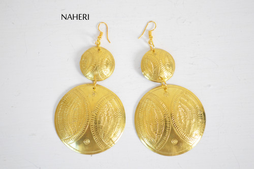 African design engraved metal earrings handmade jewelry naheri