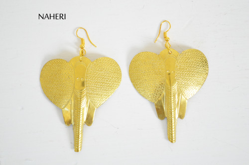 African engraved brass earrings elephant jewelry naheri