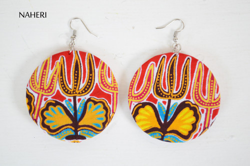 African print red dashiki fabric earrings round naheri jewelry
