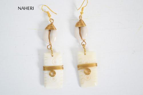 African cowrie shell and bone earrings tribal jewelry naheri