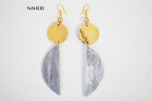 African brass metal and bone earrings tribal jewelry naheri
