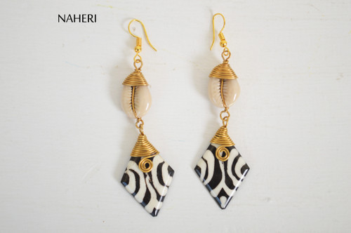 African handmade shell and bone earrings tribal jewelry naheri