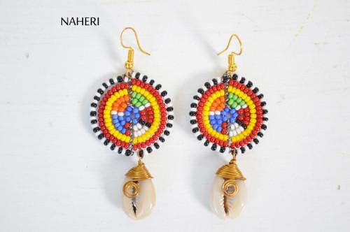 African beaded cowrie shell earrings tribal handmade jewelry naheri