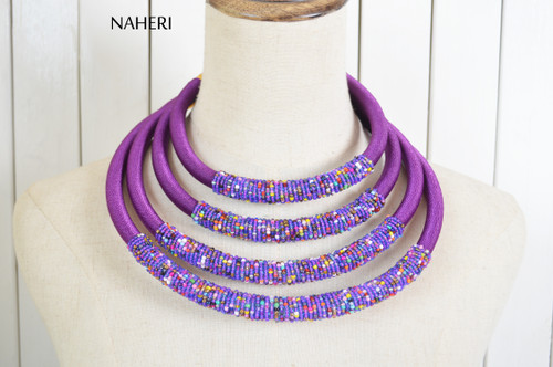 African beaded layered jewelry set royal purple naheri