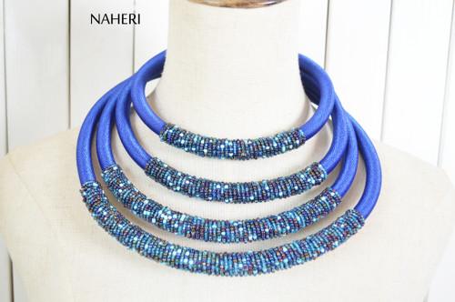 African beaded layered jewelry set royal blue naheri