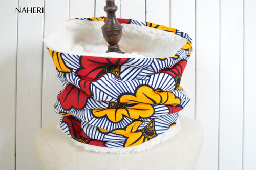 African flower print snood tribal neck warmer naheri