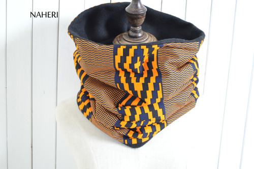 African kente fabric cowl tribal neck warmer by naheri