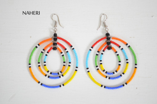 African beaded earrings multi color jewelry naheri tribal