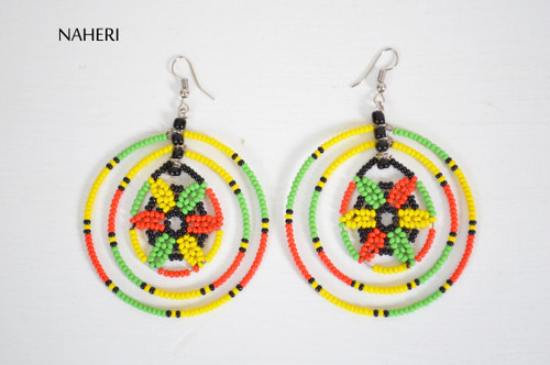 African beaded round earrings tribal jewelry naheri