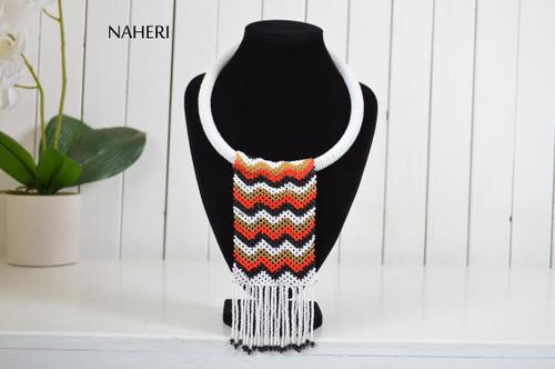 African beaded fringe necklace white tribal chevron design naheri