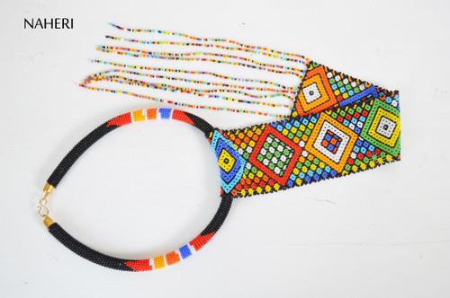 African beaded zulu style necklace fringe jewelry naheri