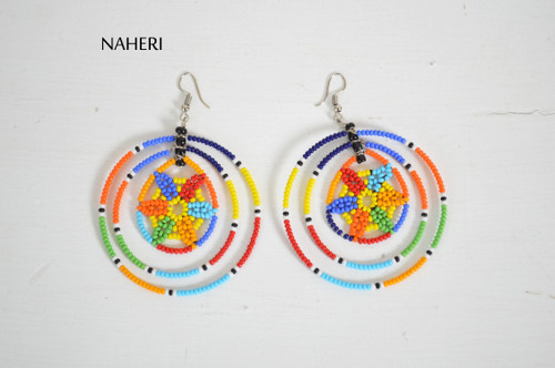 African round earrings beaded colorful tribal jewelry naheri