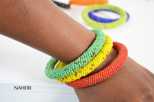African beaded bracelets sprinkled color bangles naheri jewelry