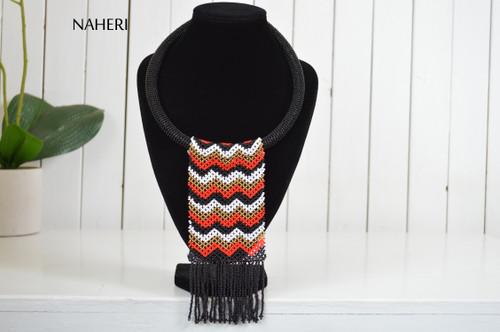 African beaded fringe necklace black tribal chevron naheri