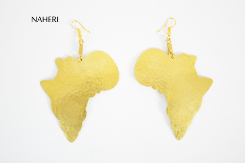 African brass map earrings hammered jewelry naheri